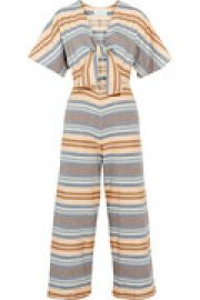 The Tie cutout striped basketweave cotton jumpsuit at The Outnet