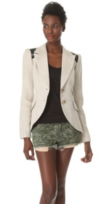 Thea's leather elbow patch blazer at Shopbop