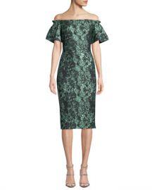 Theia Off-the-Shoulder Metallic Tissue Cloque Dress at Neiman Marcus
