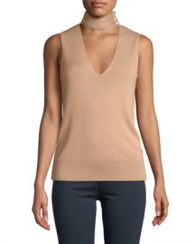 Theory Choker-Collar V-Neck Sleeveless Fine Silk Cashmere Top at Neiman Marcus