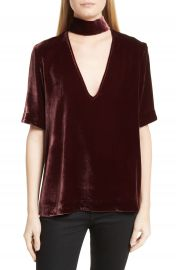 Theory Choker Collar V-Neck Velvet Top at Nordstrom