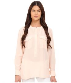 Theory Damaris Summer Silk Blouse Pearl Pink at 6pm