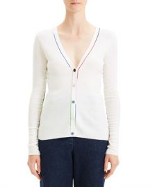 Theory Embroidered V-Neck Wool Cardigan at Neiman Marcus