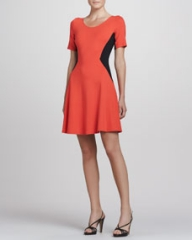 Theory Filopa Colorblock Flare Dress at Neiman Marcus