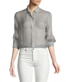 Theory Gingham Essential Silk Button-Down Top at Neiman Marcus