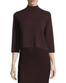 Theory Harmona JH Evian Houndstooth Sweater  Black Sumac at Neiman Marcus
