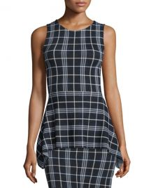 Theory Kalora Lustrate Plaid Peplum Top at Neiman Marcus