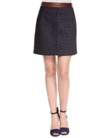Theory Lanitta Heighten Skirt Navy Terracotta at Neiman Marcus