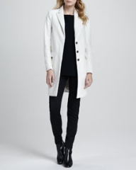 Theory Lavanya Calf-Hair Coat Toska Sheer-Sleeve Blouse and Fia Stretch-Wool Pants at Neiman Marcus