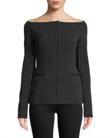 Theory Off-the-Shoulder Pinstripe Jacket at Neiman Marcus