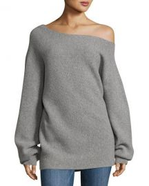 Theory One-Shoulder Ribbed Royal Wool Sweater  Gray at Neiman Marcus