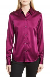 Theory Perfect Fitted Stretch Satin Shirt at Nordstrom