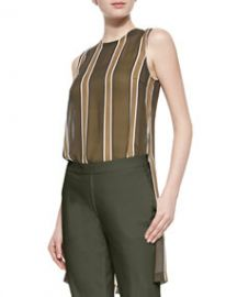 Theory Pinga Striped Slit-Hem Blouse at Neiman Marcus