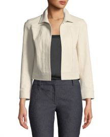 Theory Shrunken Open-Front Lamb Leather Jacket at Neiman Marcus