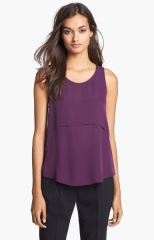 Theory Sondray Silk Shell in Elderberry at Nordstrom