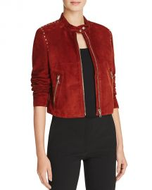 Theory Studded Suede Moto Jacket Chilli at Bloomingdales