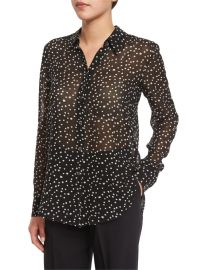Theory Sunaya NC Starry-Print Silk Top at Neiman Marcus