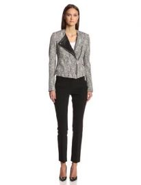 Theory Womenand39s Joean Parcel Tweed Moto Jacket BlackWhite 12 at Amazon