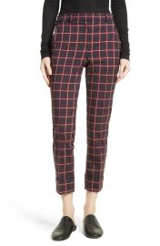 Theory York Plaid Cuffed Crop Pants at Nordstrom