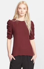 Theory and39Avonleeand39 Ruched Sleeve Silk Top at Nordstrom