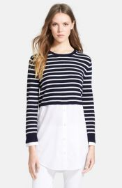 Theory and39Rymaliaand39 Stripe Crop Cotton andamp Cashmere Sweater with Poplin Underlay at Nordstrom