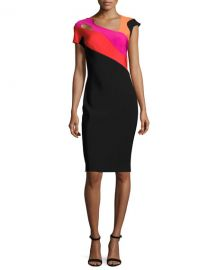 Thierry Mugler Short Sleeve Cutout Colorblock Sheath Dress at Neiman Marcus