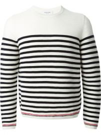 Thom Browne Striped Crew Neck Sweater - at Farfetch