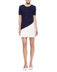 Three Dots Bicolor Short-Sleeve Jersey Dress at Neiman Marcus