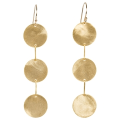 Three Gold Disc Earrings at Layla Grace