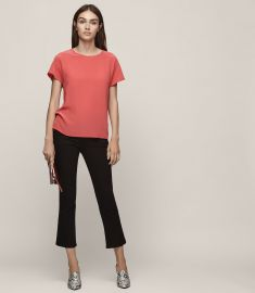 Tia Silk Front T-Shirt in Lotus Red by Reiss at Reiss