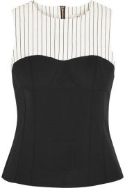 Tibi   Cecil striped linen-blend and stretch-crepe top at Net A Porter