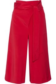 Tibi   Cropped stretch-faille wide-leg pants at Net A Porter