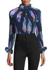 Tibi - Graphic-Print Pleated Crop Top at Saks Fifth Avenue