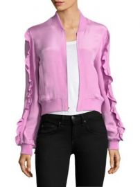 Tibi - Silk Ruffle Bomber Jacket at Saks Fifth Avenue
