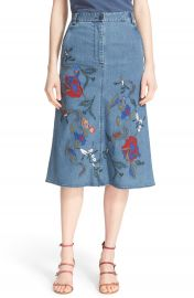 Tibi  Marisol  Embroidered Appliqu   Denim A-Line Skirt at Nordstrom