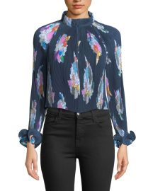 Tibi Camellia Pleated Floral-Print Top   Neiman Marcus at Neiman Marcus