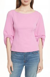 Tibi Draped Twill Corset Top at Nordstrom