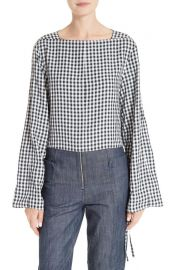 Tibi Gingham Convertible Sleeve Top at Nordstrom