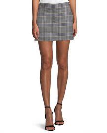 Tibi Lucas Plaid Suiting Mini Skirt at Neiman Marcus