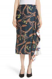 Tibi Renzo Scarf Print Asymmetrical Silk Skirt at Nordstrom