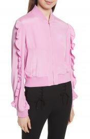 Tibi Ruffled Silk Bomber Jacket at Nordstrom