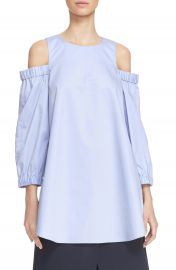 Tibi Satin Poplin Cold Shoulder Top at Nordstrom