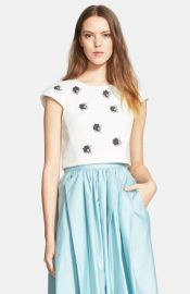 Tibi and39Nuageand39 Beaded Crop Top at Nordstrom