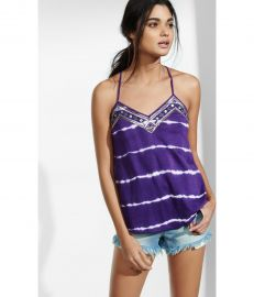 Tie Dye Sequined Necklace Trim Cami at Express