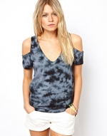 Tie Dyed Shoulder Cutout top at Asos
