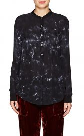 Tie-Dyed Silk Henley Blouse by Raquel Allegra at Barneys