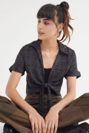 Tie-Front Short Sleeve Cropped Top at Urban Outfitters