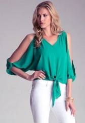 Tie Front Slit Sleeve Top at Bebe