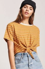 Tie-Front Striped Tee at Forever 21