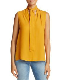 Tie Neck Sleeveless Silk Blouse at Bloomingdales